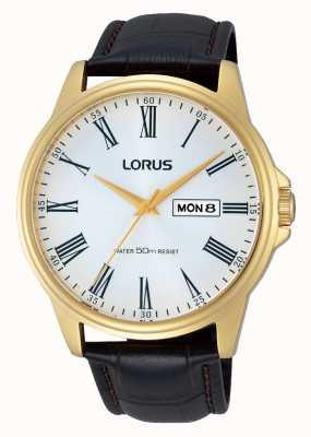 Lorus Mens bruin lederen band dag datum horloge RXN10DX9