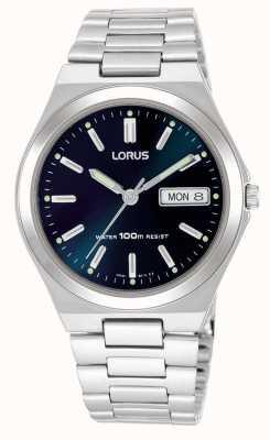 Lorus Mens donker blauwe wijzerplaat dag datum horloge RXN17BX9