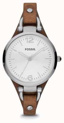 Fossil Dames bruine leren roestvrijstalen horloge ES3060