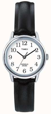 Timex Originele easy reader zwart lederen band T20441