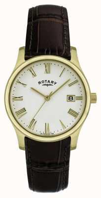 Rotary Gents verguld lederen band horloge GSI0794/32