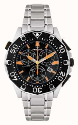 Rotary Mens zwarte wijzerplaat chronograaf horloge AGB90036/C/04