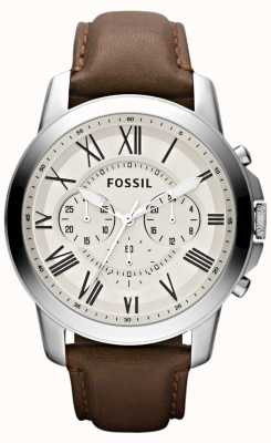 Fossil Mens chronograaf lederen band FS4735