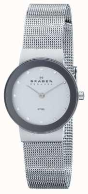 Skagen Ladies circle analoge wijzerplaat zilveren band horloge 358SSSD