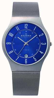 Skagen Mens blauw titanium wijzerplaat geval mesh band horloge 233XLTTN
