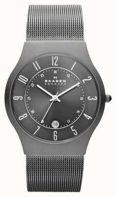 Skagen Heren grijs titanium mesh band horloge 233XLTTM