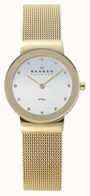 Skagen Dames goudkleurig gaas horloge 358SGGD