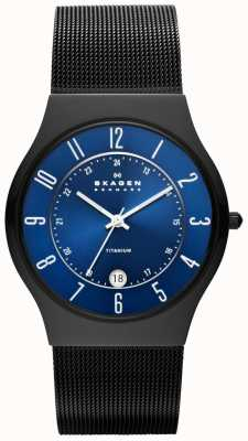 Skagen Mens Black titanium stalen band horloge T233XLTMN