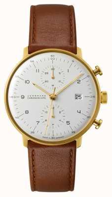 Junghans Max bill chronoscoop bruine lederen band 027/7800.04