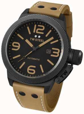 TW Steel Gent kantine automatische 50mm bruin lederen band horloge TWA203