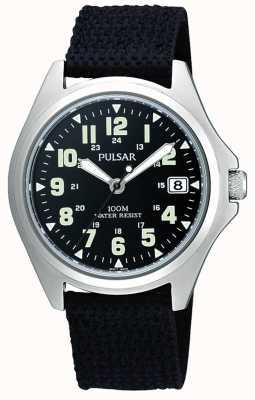 Pulsar Mens zwart canvas riem horloge PS9045X1