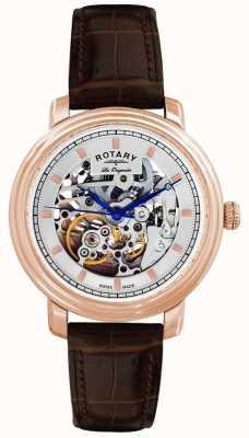 Rotary Gent les originales bruine lederen band horloge GS90505/06
