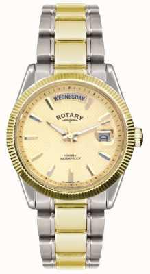 Rotary Gent twee tone roestvrij stalen armband havana horloge GB02661/20