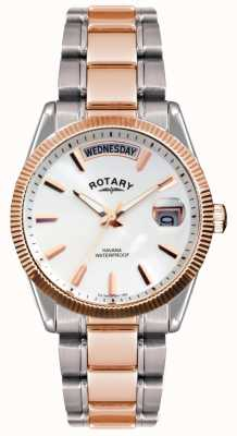 Rotary Gent twee tone roestvrij stalen armband havana horloge GB02662/06