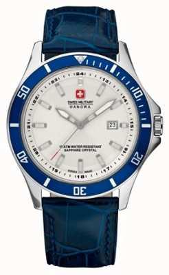 Swiss Military Hanowa Mens vlaggenschip witte wijzerplaat blauwe bezel & lederen band 6-4161.2.04.001.03