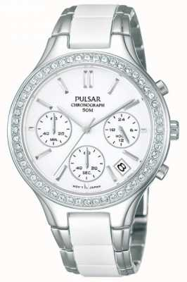 Pulsar Wit keramiek en roestvrij staal Ladies ', kristal-set, chrono PT3305X1