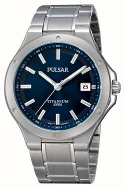 Pulsar Mens titanium blauw wijzerplaat display horloge PS9123X1