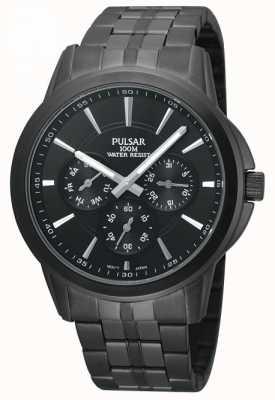 Pulsar Mens zwart-ion-plated roestvrij stalen horloge PP6015X1