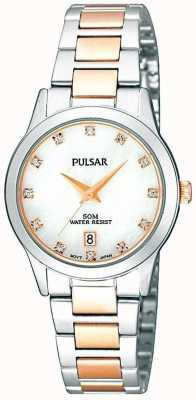 Pulsar Ladies 'two-tone, pearl dial, kristal-set horloge PH7313X1