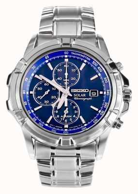 Seiko Heren RVS blauwe wijzerplaat zonne-energie chronograaf SSC141P1