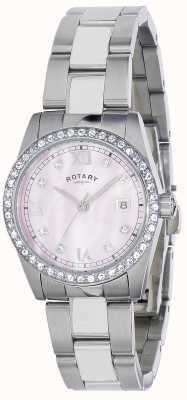 Rotary Ladies havana kristal set stalen armband LB02343/07