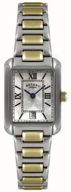 Rotary Ladies 'two-tone, goud-plate en roestvrij staal, parelmoer wijzerplaat horloge LB02651/41
