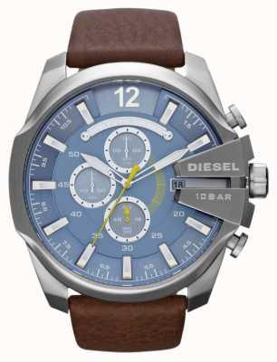 Diesel Mens mega chief blauwe wijzerplaat bruin lederen band chronograaf DZ4281