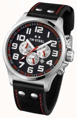 TW Steel Heren piloot roestvrij staal zwart en rood chrono TW0415
