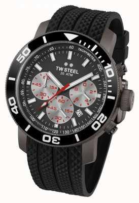 TW Steel Heren grijze wijzerplaat zwarte omlijsting rubberen band chrono TW0705