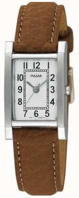 Pulsar Ladies 'roestvrij staal, beige lederen band horloge PC3163X1