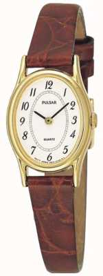 Pulsar Ladies 'gouden plaat, witte ovale wijzerplaat, bruine lederen horloge PPGD68X1