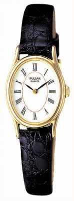 Pulsar Ladies 'gouden plaat, witte ovale wijzerplaat, zwart lederen horloge PPGD64X1