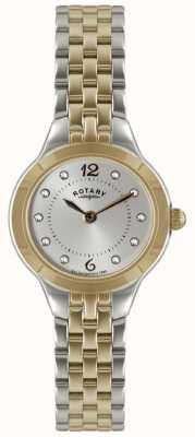 Rotary Ladies 'two tone horloge met stenen set LB02762/59