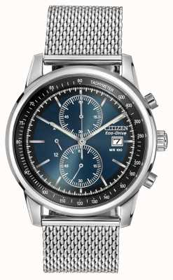 Citizen Heren roestvrij staal, blauwe wijzerplaat, mesh band horloge CA0331-56L