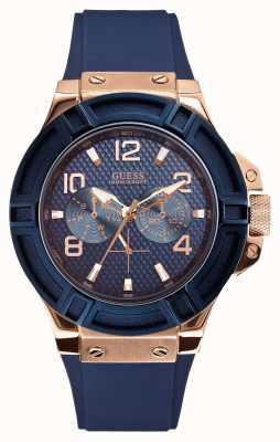 Guess Mens rigour blauw en rose-gouden horloge W0247G3
