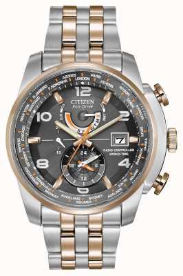 Citizen Herenwereldtijd bij tweekleurige chronograaf met grijze wijzerplaat AT9016-56H