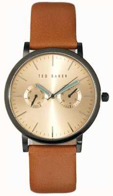Ted Baker Heren Multi wijzerplaat bruine lederen horlogeband gouden wijzerplaat TE1094