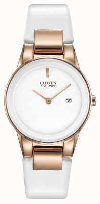 Citizen Ladies 'axioma, goud-plaat, wit keramiek, lederen band horloge GA1053-01A
