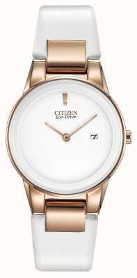 Citizen Ladies 'axioma, goud-plaat, wit keramiek, lederen band horloge GA1053-01A
