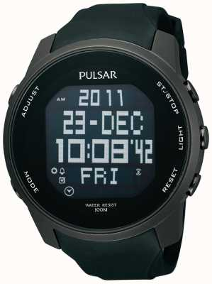 Pulsar Mens digitale ion verzinkt staal zwarte rubberen band horloge PQ2011X1