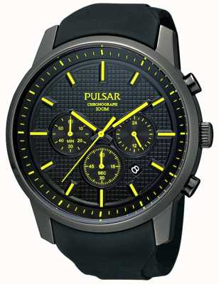 Pulsar Mens zwart-ion-plated gele detail rubberen band horloge PT3193X1
