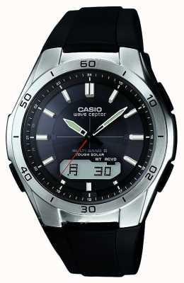 Casio Mens golf receptor zwarte rubberen band roestvrij stalen horloge WVA-M640-1AER