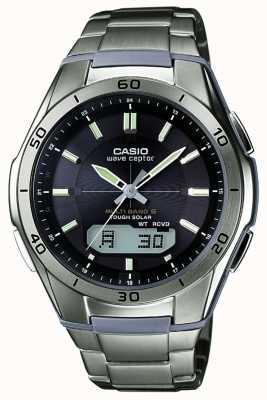 Casio Heren wave ceptor zwarte wijzerplaat titanium horloge WVA-M640TD-1AER