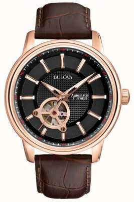 Bulova Mens automatische rose goud bruin lederen band horloge 97A109