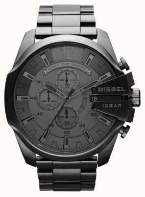Diesel Mens mega chief zwarte stalen horloge DZ4282