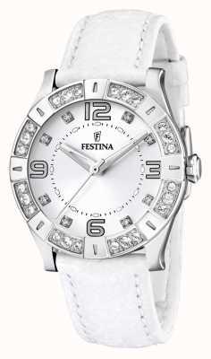 Festina RVS dames, kristal-set, wit lederen band horloge F16537/1