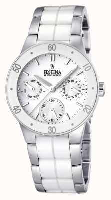 Festina Wit keramiek en roestvrij staal Ladies ', watch multi-dial F16530/1
