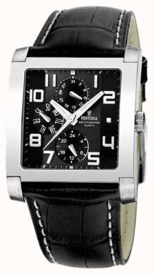 Festina Mens roestvrij staal zwart meerdere wijzerplaat zwart lederen horloge F16235/F