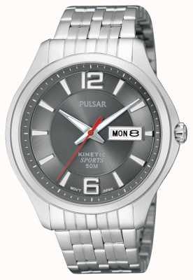 Pulsar Heren kinetische sport roestvrijstalen horloge grijze wijzerplaat PD2035X1