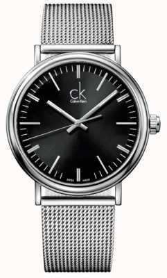Calvin Klein Mens omringen zwarte wijzerplaat mesh band horloge K3W21121